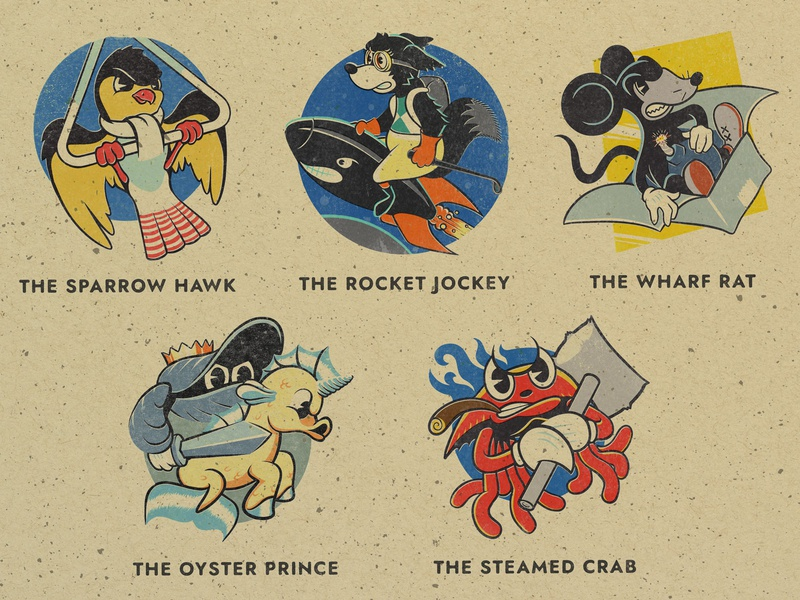 Squadron Insignia Characters illustration