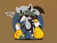 Robber Raccoon vintage mascot retro raccoon character