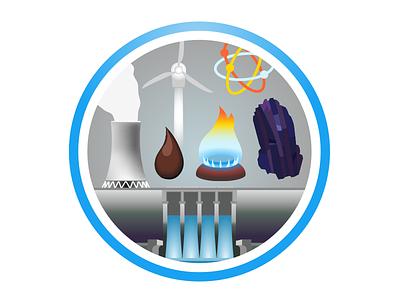 Energy—Fragile Oasis Badge energy oil gas coal hydro nuclear wind nasa fragile oasis badge