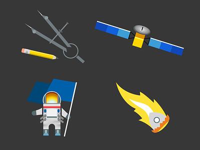 Fragile Oasis Badge Elements fragile oasis badges space nasa astronaut satellite portfolio