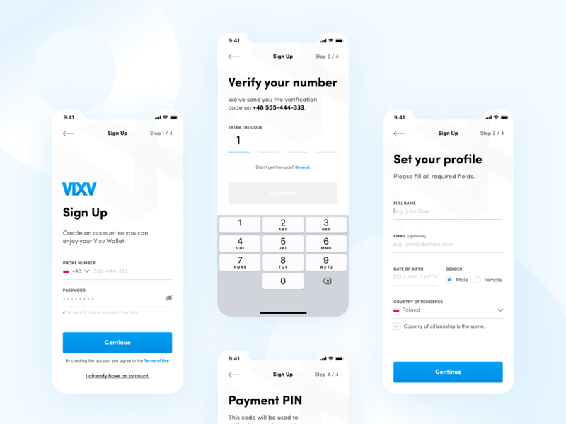 Blockchain Mobile Wallet - Sign-Up flow ui ux money pin payment verification blue white signup bank minimal flat figma clean app
