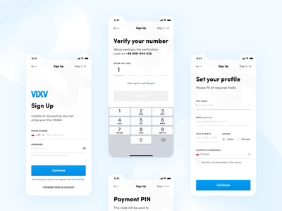 Blockchain Mobile Wallet - Sign-Up flow ui ux money pin payment verification blue white signup bank minimal flat figma clean app