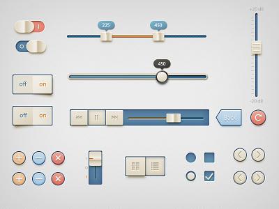 Retro UI Kit ui buttons slider retro toggle light orange