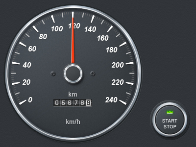 Speedometer app button car dashboard gray led speedometer ui