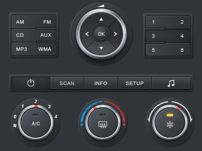 Car Dashboard dashboard app button car dashboard gray knob led ui