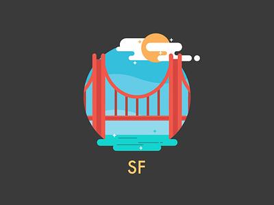 Goodbye, San Francisco golden gate bridge illustration icon san francisco