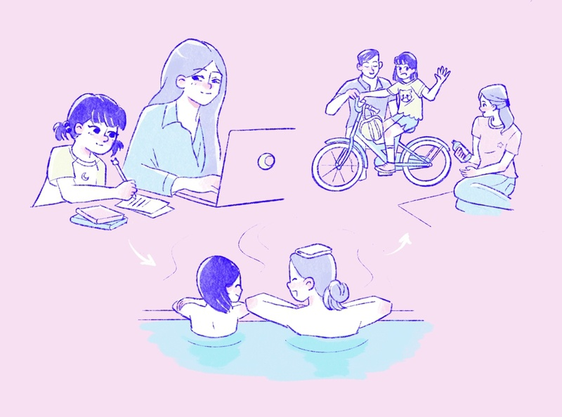 Bleisure pastels work from home bleisure remote work work pastel cute flat japan character illustration