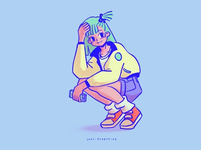 Modern Bulma minimal digital pastel anime character cute japan japanese illustration manga toriyama dragon mall bulma