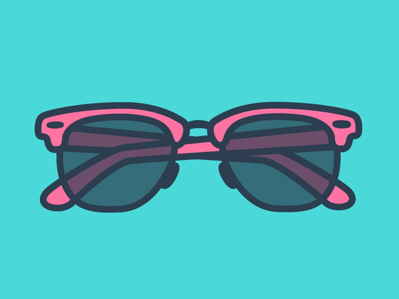 Summer is coming hot pink teal illustrator vector flat beach summer glasses sun