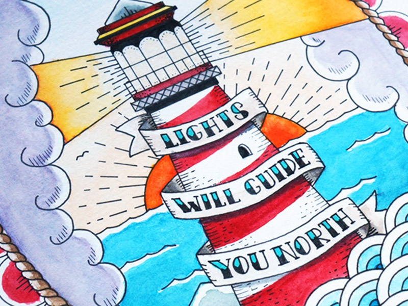 Lights will guide you north navy sailor ocean lights drawing illustration old school watercolor tattoo lighthouse