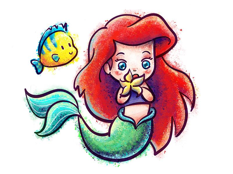 Ariel animation ocean cute princess color mermaid digital illustration disney ariel