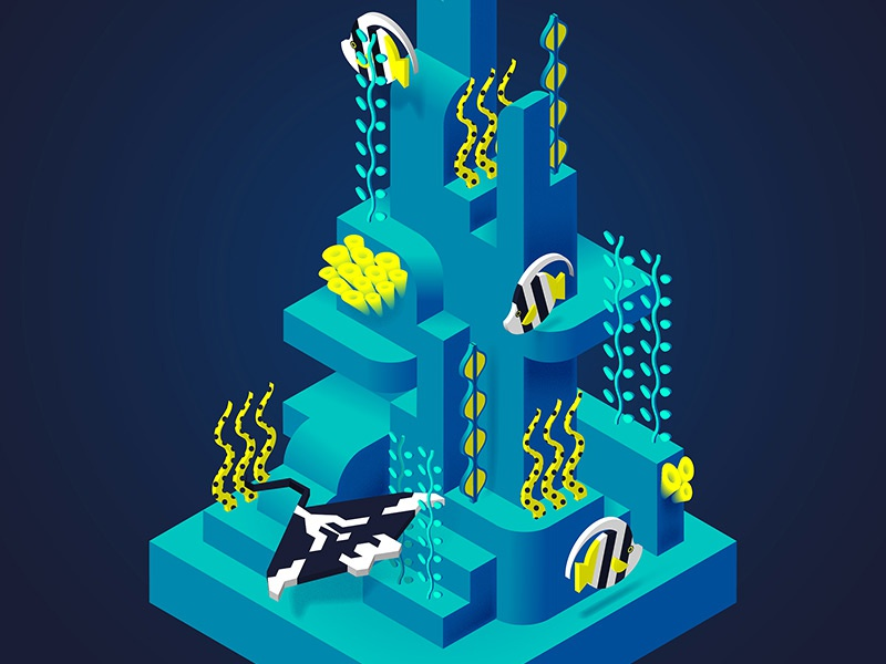 Coral Reef art drawing graphic reef coral illustration digital geometric vector isometric