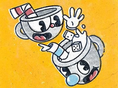 Lucky Dice indie drawing print illustration oldschool videogames vintage game cuphead