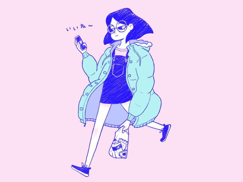 Me every other day digital painting character design pastel color pastel pencil japan cute character drawing illustration
