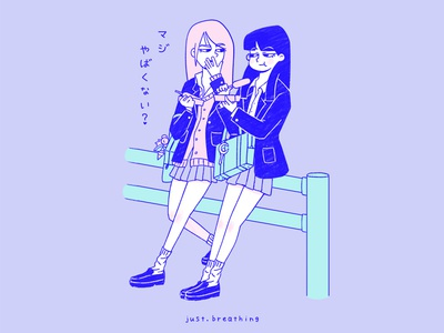 Shibuya School Girls flat pastel shibuya tokyo girl school japanese japan cute illustration drawing character cartoon art