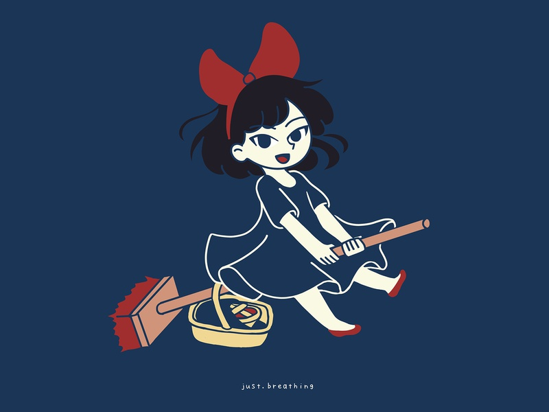 Kiki procreate witch manga kikis delivery service ghibli kiki anime japanese japan digital flat vector cute character drawing illustration