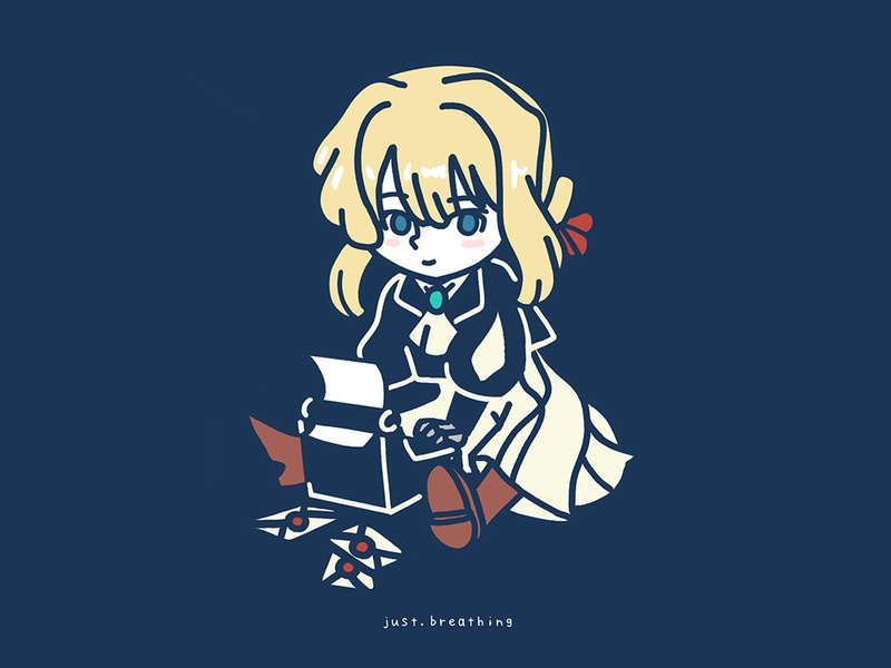 Violet Evergarden girl violet manga anime japanese minimal japan digital cute flat character drawing illustration
