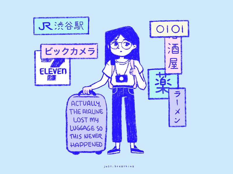 First day in Tokyo travel tokyo pastel japanese minimal japan digital cute character illustration