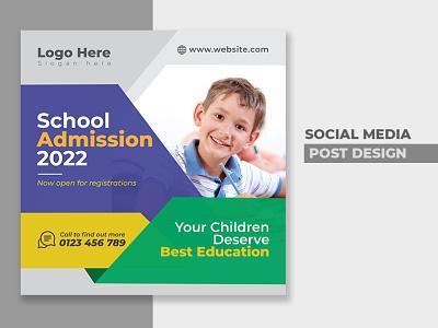 School admission social media post design-school ads design school banner school admission facebook post instagram post typography modern design concept vector web banner webdesign branding