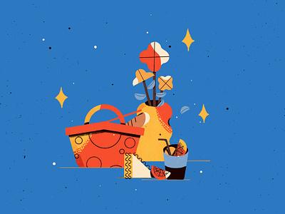 Picnic still life stilllife picnic colorful objects artwork illustrator procreate illustration