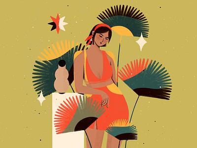 Flower Power tropical artwork portrait woman illustration flower illustration colorful character design woman procreate illustration