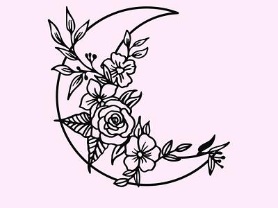 Floral Moon floral design floral illustration illustration art art fashion floral art