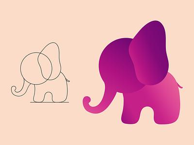 Elephant Logo Design elephant gradient design animal logo design minimal logo logo design animal logo elephant logo 3d branding logo graphic design ui