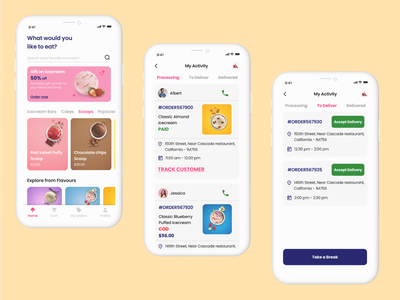 Icecream Customer and Delivery Man App driver app delivery man app driver app design clean ui food app ordering app delivery app delivery app design icecream app ui ui screens visual design ui design mobile app design app design