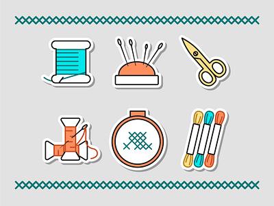 Cross stitch vector stickers handmade sticker flat illustration icon vector