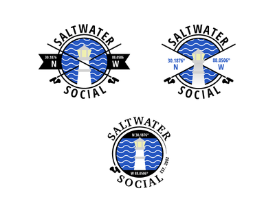 Saltwater Social Logo Rejects fishing pole coordinates lighthouse nautical