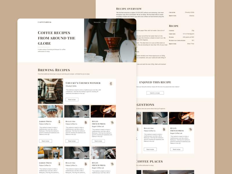 Caffetarium - Landing and Recipe page coffee shop blog design blog website elegant type coffee flat vector branding typography ux user interface interface web design ui