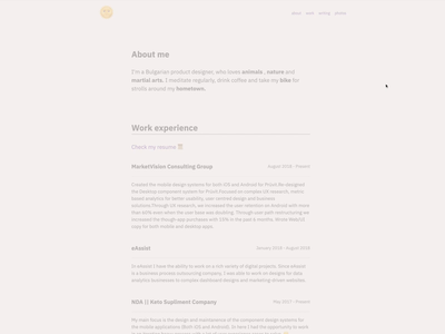 Portfolio Redesign – About page personal website portfolio css html 5 javascript css 3 user user experience ux branding typography website user interface prototype motion interface animation ui design web