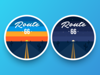 Route 66 retro badges