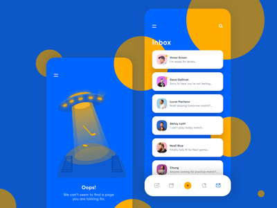 Inbox and 404 Error illustration illustrations card bold color ios android hockey space ship tab navigation bar empty space error page 404 chat inbox ios mobile vector web design ui app illustration