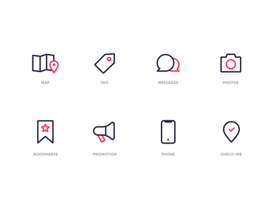 Food app Iconography messages photos checkin phone bookmark map website inspiration design icons mobile ui analytics food duotone consistent iconography web illustration icon