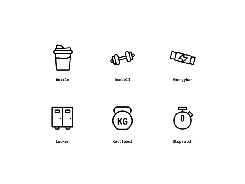Fitness icons exploration icons design icons pack icons set black stopwatch kettlebel lcoker energybar dumbell bottle sports outline clean fitness icons