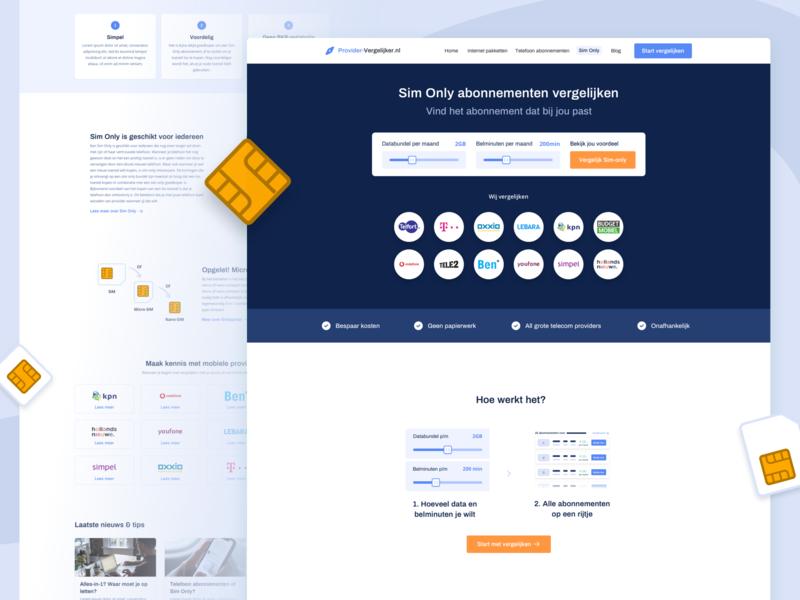 provider-vergelijker.nl - Sim only vergelijken ui uxui ux clean web website design comparison affiliate affiliate marketing sim only vergelijken slider hoe het werkt providers