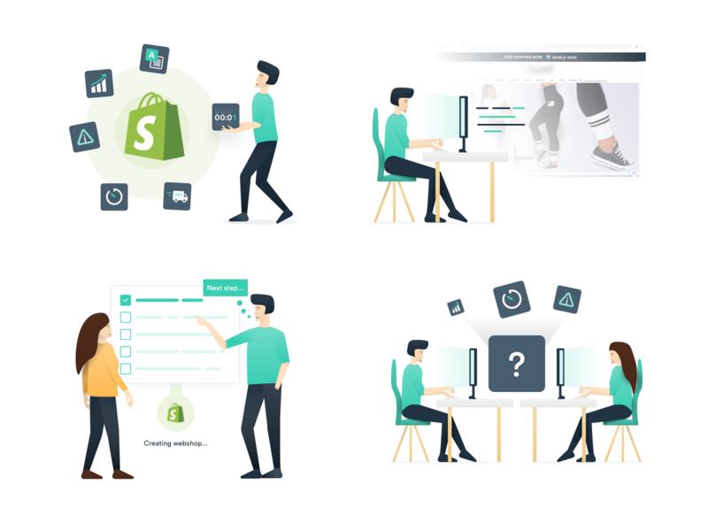 Shopify app developer website illustrations branding design website illustrations/ui app shopify personal branding personal person web illustrations