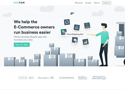 Hextom - Landingpage redesign animation design website ui ux uiux clean ui illustration design clean icons shopify illustrations