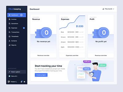 Bookkeeping - User Interface blue animation branding logo web clean ui design ux ui bookkeeping illustrations/ui illustrations