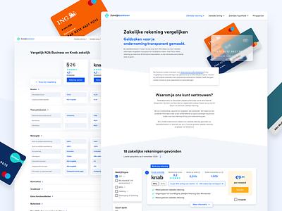 zakelijkbankieren.nl - Comparison pages knab n26 banking banks design website company zakelijk comparison