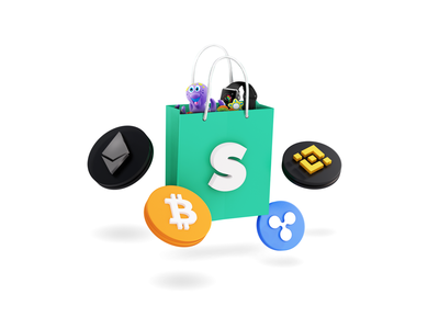 Shopping.io - Shopping bag crypto visual ui branding illustration ethereum bitcoins binance eth ripple btc modern cryptocurrency crypto shopping app shopping bag shopping