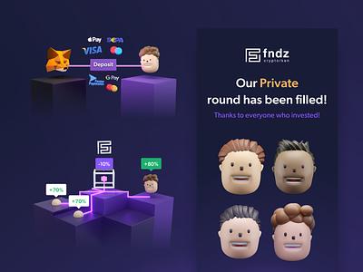 FNDZ - Website assets crypto wallet copy trading payment deposit metamask cryptocurrency blender3d blender assets branding