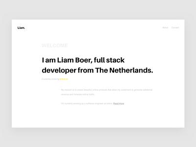 Liam Boer portfolio web design liam boer designer portfolio personal website header developer full stack white clean ui