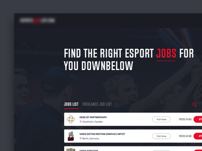 Esports jobs web design concept gaming header ux ui web jobs esports