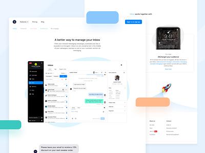 I AM POP - Inbox - Landingpage messaging campaigns marketing marketing tool messenger design clean web ux ui product manage conversation inbox website