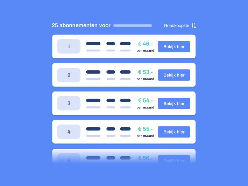 Provider-vergelijker.nl - Vergelijker visual affiliate marketing website concept ux ui website clean blue illustrations illu web subscriptions vergelijker