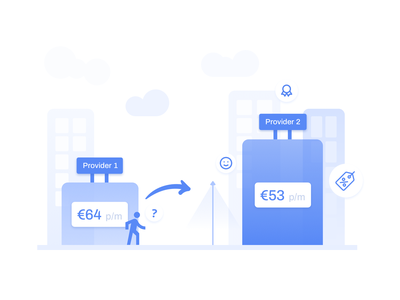 provider-vergelijker.nl - Naadloos Overstappen design website ux ui comparison web blue illustration illu clean provider provider-vergelijker.nl overstappen