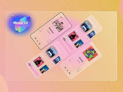 Music UI ios icon app android design branding ui mobile ui mobile web gradient glassmorphism glass muscic