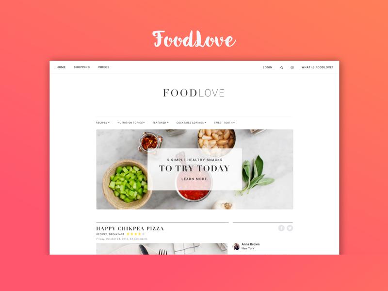Food Love ui ux web page landing creative clean sort design blog food